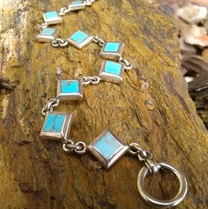 Sterling Silver Turquoise inlaid  line bracelet